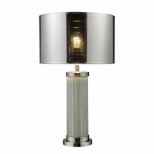 Chrome And Mirror Table Lamp With Silver Mylar Shade