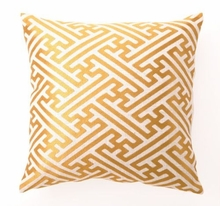 Citron Cross Hatch Linen Embroidered Pillow