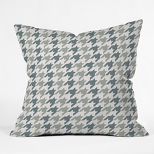 Classy Blue Houndstooth Throw Pillow