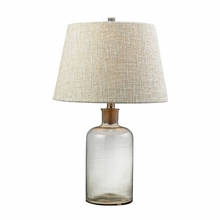 Clear Glass Bottle Table Lamp with Cork Neck