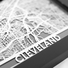 Cleveland Stainless Steel Framed Map