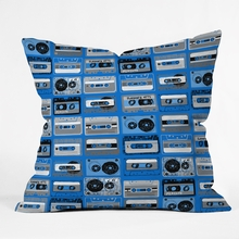 Cobalt Retro Cassettes Throw Pillow