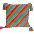 Colorful Velvet Stripes Sham with Tassels