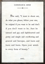 Constance Spry Quote Vintage Art Print with Grey Wood Frame