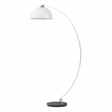 Contemporary Arc Floor Lamp In White With Marble Base