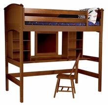 Cooley Study Twin Loft Bed in Cherry