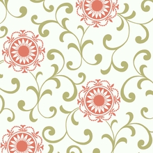 Coral and Green Medallion Scroll Wallpaper