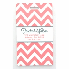 Coral Chevron Personalized Luggage Tag Set