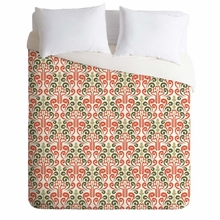 Coral Damask Lightweight Duvet Cover
