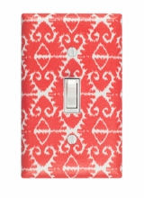 Coral Ikat Light Switch Plate Cover