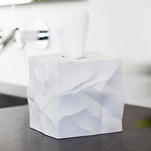 Crinkle Tissue Box in White