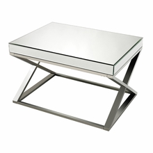 Criss Cross Mirror And Stainless Steel Coffee Table