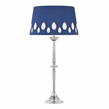 Crystal And Chrome Buffet Lamp With Navy Blue Crystal Embellished Laser Cut Shade
