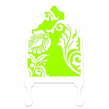 Curvy Cutout Bright Lime Green Headboard Wall Decal for Twin Bed