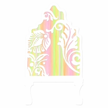 Curvy Cutout Bright Stripe Pink Headboard Wall Decal for Twin Bed