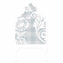 Curvy Cutout Gingham Blue Headboard Wall Decal for Twin Bed