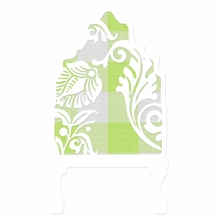 Curvy Cutout Gingham Green Headboard Wall Decal for Twin Bed