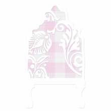 Curvy Cutout Gingham Pale Lilac Headboard Wall Decal for Twin Bed