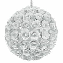 Cypress White Wrought Iron Rose Chandelier