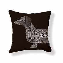 Dachshund Typography Reversible Throw Pillow in Brown and White