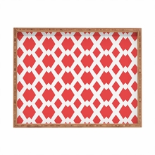 Daffy Lattice Coral Rectangle Tray