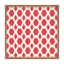 Daffy Lattice Coral Square Tray
