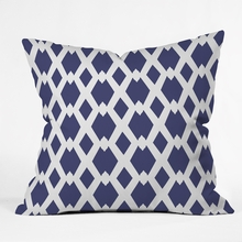 Daffy Lattice Navy Throw Pillow