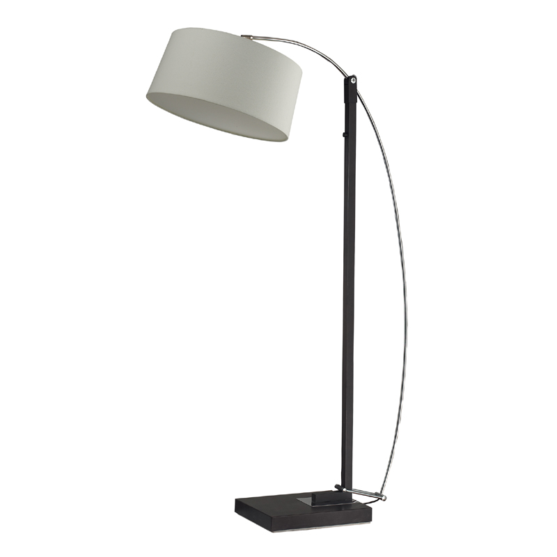 district17 dark brown arc floor lamp with off white shade. Black Bedroom Furniture Sets. Home Design Ideas