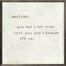 Darling You and I Vintage Art Print with Grey Wood Frame