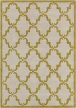 Davin Elegant Lattice Rug in Ivory and Gold