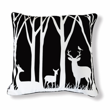Day and Night at the Forest Reversible Throw Pillow