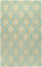 Diamond Rug in Green and Blue