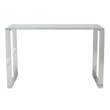 Diego Desk Glass in Clear and Polished Stainless Steel