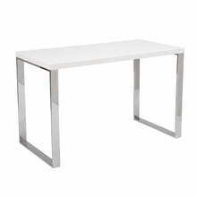 Dillon Desk in White Lacquer and Stainless Steel