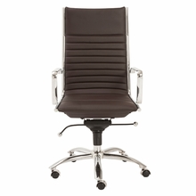 Dirk High Back Office Chair in Brown and Chrome
