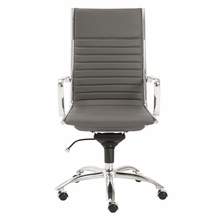Dirk High Back Office Chair in Gray and Chrome