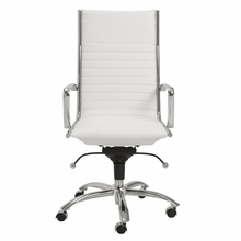 Dirk High Back Office Chair in White and Chrome