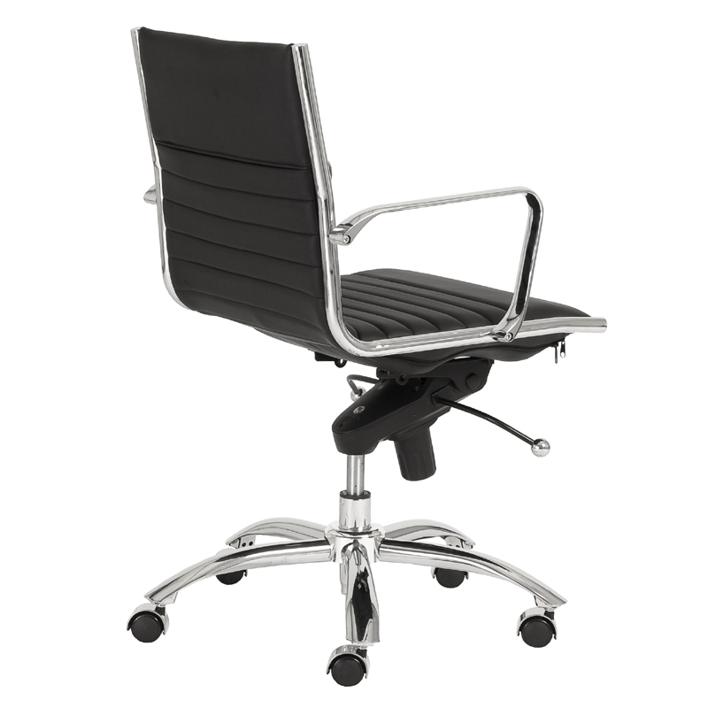 black and chrome furniture. dirk low back office chair in black and chrome furniture
