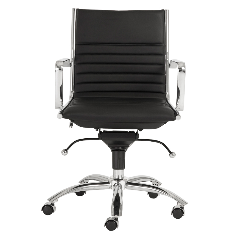 District17 Dirk Low Back Office Chair In Black And Chrome Chairs Sofas