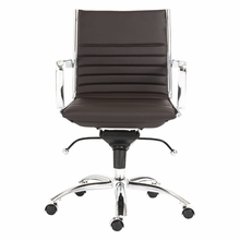 Dirk Low Back Office Chair in Brown and Chrome