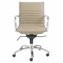 Dirk Low Back Office Chair in Taupe and Chrome