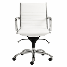Dirk Low Back Office Chair in White and Chrome