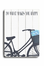 Do What Makes You Happy - Blue Flowers Vintage Wood Sign