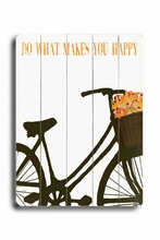 Do What Makes You Happy - Orange Flowers Vintage Wood Sign