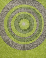 Eccentric Large Area Rug in Green and Sable