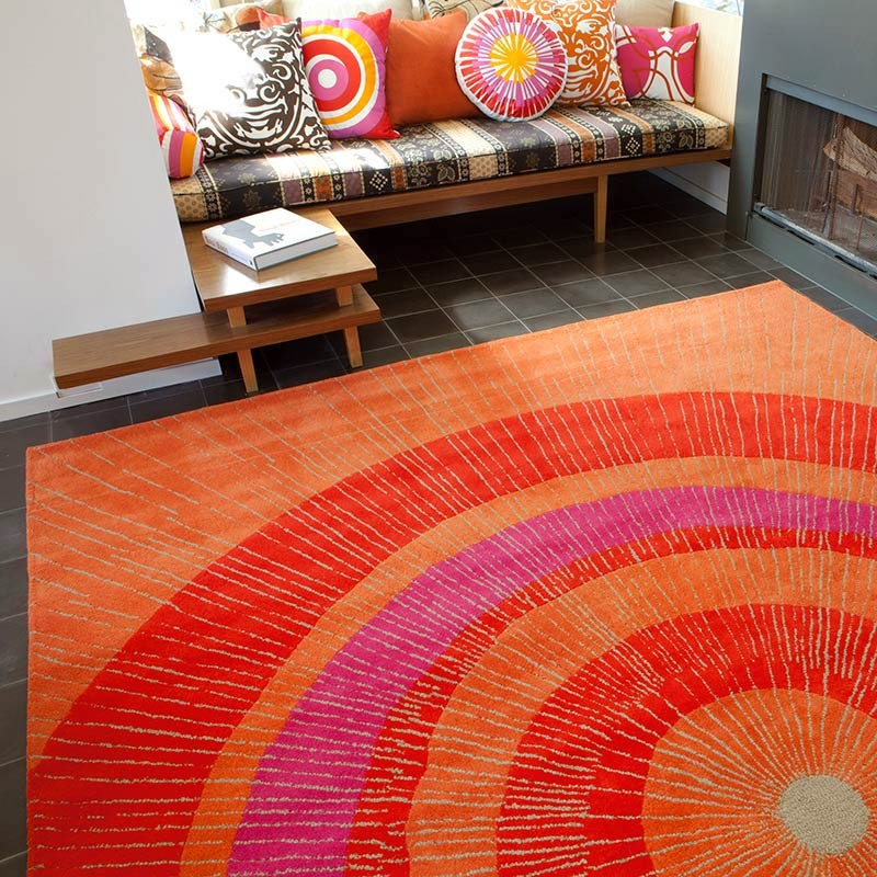 Eccentric Large Area Rug In Orange And Red