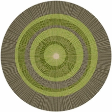 Eccentric Large Round Rug in Green and Sable