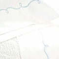 Embroidered Hem White & Dusty Blue Sheet Set