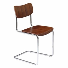 Erling Side Chair in Walnut and Chrome - Set of 4
