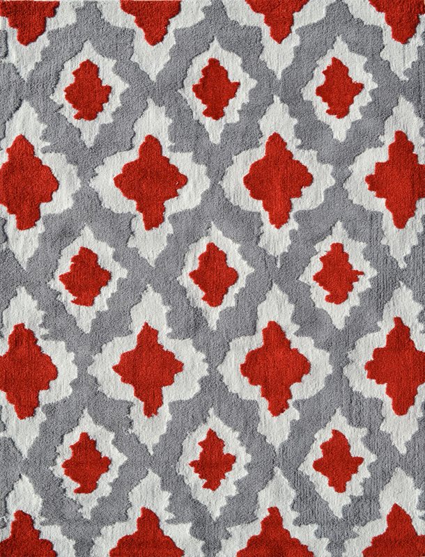 Ethnic Gray And Red Rug
